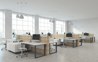 Group work space design and furniture rental